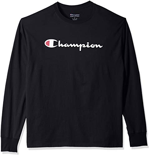Champion Men's Graphic Classic Jersey LS Tee, Black/Black, X-Large