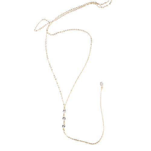 1 colgante de aleación de oro y diamantes de imitación con colgante sexy de cadena de fondo para mujeres y niñas sin espalda vestirse fuera del hombro