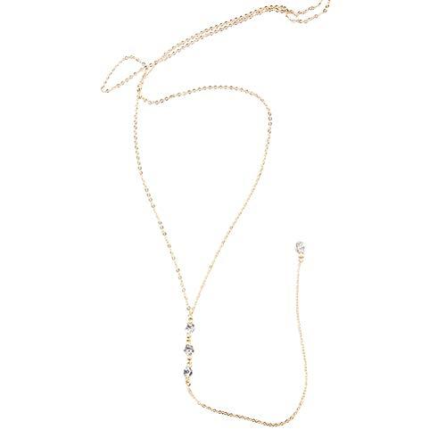 1 collar de aleación de oro con colgante de diamantes de imitación y cadena de fondo sexy, para mujeres y niñas, sin espalda, sin hombros.