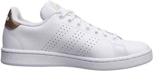 adidas Women#039s Cloudfoam Advantage Cl Sneaker White/White/Copper Metallic 8