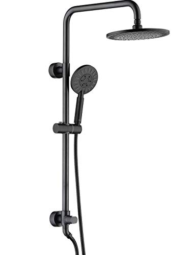 Shower heads system including rain fall shower head and handheld shower head with height adjustable holder, solid brass rail 60 inch long stainless steel shower hose (oil rubbed bronze)