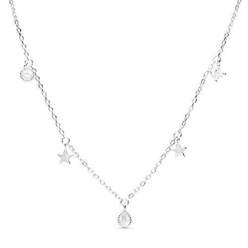 LUXENTER Collar Estrella en Plata y circonitas