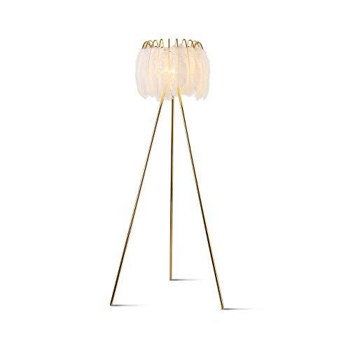 Lámpara de pie de plumas nórdicas princesa lámpara de lectura de lujo con lámpara de pie regulable brillo protección de ojos lámparas de pie altas para sala de estar, oficina, sala de estudio