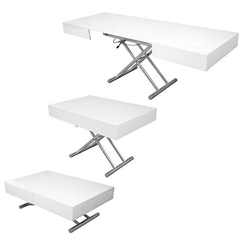 DecoInParis - Mesa baja elevable extensible lacada Smart XXL (blanco)