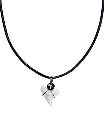 Shark Tooth Small Beads Necklace Handmade Hawaiian Style Beach Leather Cord