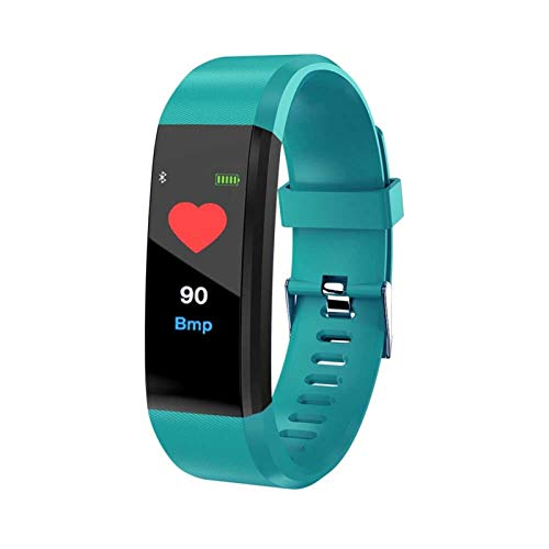 LYB Smart Watch Men 115plus Pulsera Inteligente Papel Papel Papel Cardio Cardíaco Presión Arterial Fitness Pedometer SmartBand para iOS Android (Color : Green)
