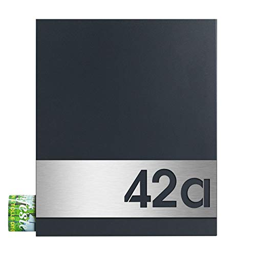 MOCAVI Box 111 Design-Briefkasten anthrazit RAL 7016 Made in Germany modern groß mit Zeitungsrolle und Highlight Gravur Hausnummer auf V4A –Edelstahl witterungsbeständig