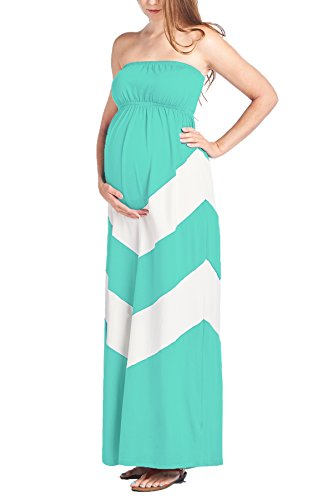 Beachcoco Women's Maternity Comfortable Chevron Tube Maxi Dress (S, Mint/White)