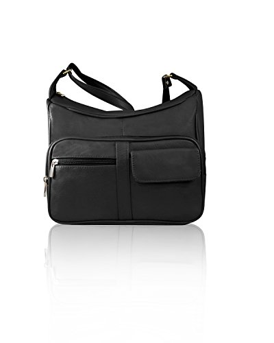 Roma Leathers Gun Concealment Shoulder Purse with Organizer - Cowhide Leather, Adjustable Strap - Black