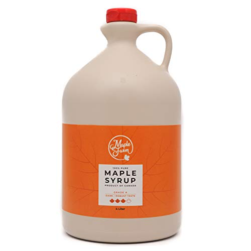 MapleFarm - Puro sciroppo d'acero Canadese. Grado A, Amber - 4 Litri - Pure maple syrup - sciroppo per pancake - sciroppo per waffle - succo acero - sciroppo di acero