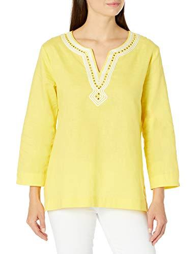 Pappagallo Damen Mandarin Tunic Hemd, Limonade/Naturweiß, X-Groß