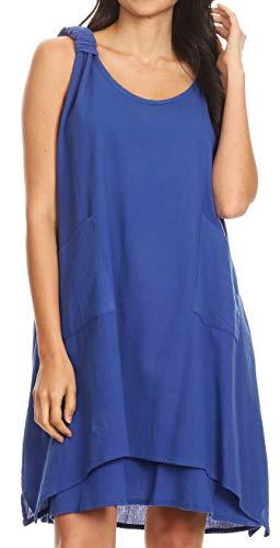 Sakkas 4340 - Genna Two Layer Ärmellos Rüschen Schultergurte Rundhals Zelt Kleid - Royal Blue - OS
