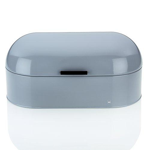 Kela 11167 boîte à pain, métal brillant, 44 x 21,5 cm, hauteur 21 cm, coloris gris, 'Frisco'