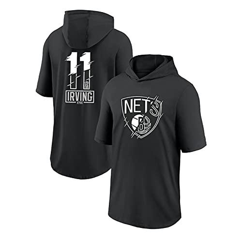 JZSZ Nets Irving # 11 Camiseta con Capucha de Baloncesto, Entrenamiento Ropa para Correr Camisa Deportiva Negra para Fans XXXL