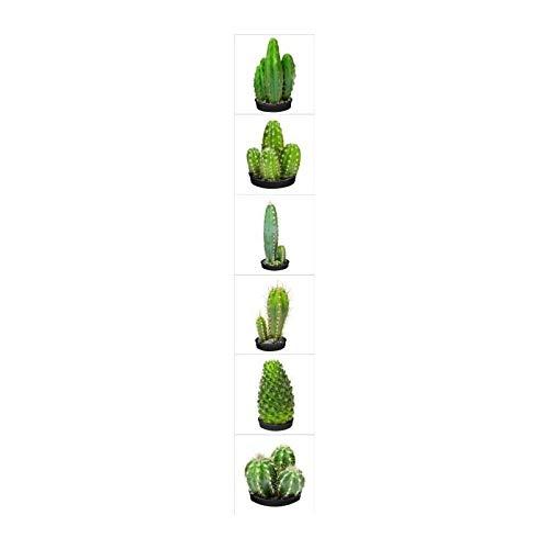 Plage Cactus Decoración Adhesiva para Azulejos, Vinilo, Verde, 15x15 cm, 6 Unidades