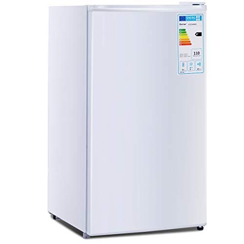 GOPLUS Kühlschrank mit Gefrierfach Vollraumkühlschrank Mini-Kühlschrank Kühl-Gefrier-Kombination Tischkühlschrank lautlos Farbewahl 91L (Weiß)