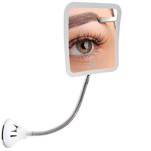 Wffo Espejo de maquillaje LED regulable con ventosa y cuello de cisne y ventosa