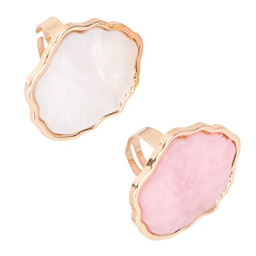 Minkissy Harts marmor nagelkonst ring pallar 2 stycken mini fingerring plattor nagelkonst makeup blandade paletter blandningsskål gör-det-själv färgpaneler för att rita nyans stil 1