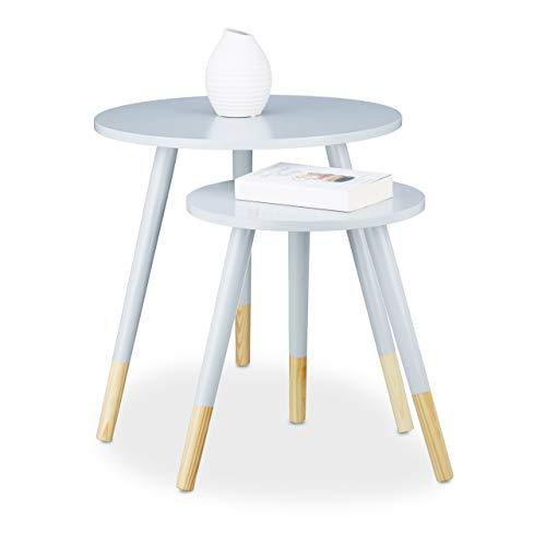 Relaxdays, grau Beistelltisch rund 2er Set, Holztisch Dreibeiner HxD 48 x 48 cm, matt lackierter Wohnzimmertisch, Holz, 48 x 48 x 48 cm