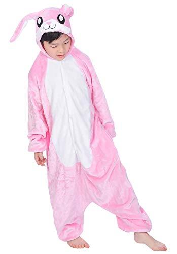 YAOMEI Kinder Onesies Kigurumi Pyjamas, Mädchen Jungen Tier Sleepsuit Nachtwäsche Hoodie, Halloween Kostüm Weihnachten Cosplay Party (130 für Kinder Höhe 120-130CM (47