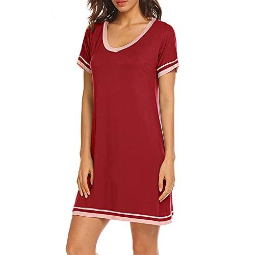 LWCOTTAGE Vestido Casual De Verano para Mujer - Primavera Verano Cuello Redondo Contraste Color Costuras Vestido Vestido Vestido De Manga Corta Vestido De Casa Ropa, Vino Tinto, XXL