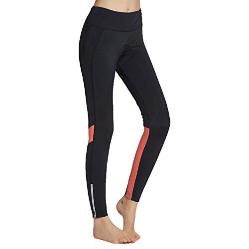 BEROY Pantaloni lunghi da ciclismo da donna, elasticizzati, con imbottitura in spugna 3D, per ciclismo, mountain bike Leggings A1/arancione L