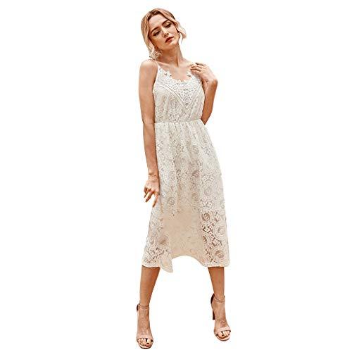 Routinfly - Vestido de noche para mujer, cuello en V, manga larga, sexy, vestido de encaje sin marcas, vestido de cóctel, elegante, para playa o fiesta Blanco M