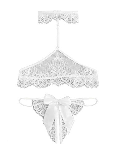 Floerns Women's Sexy Sheer Lace Lingerie Bra with Choker and Panty 2 Piece White S