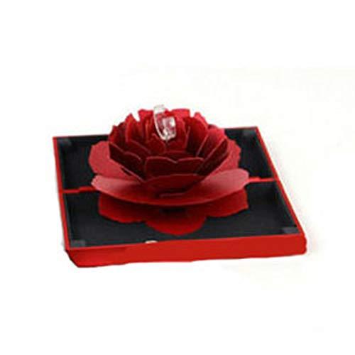 BuffyIn 3D Pop Up Rose Ringbox, schöne Hochzeit Verlobung Schmuck Aufbewahrung Rechteckig Antrag Rose-Blume Ringbox