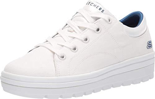 Skechers Damen Street Cleat-bring It Back Sneaker, Weiß (White Canvas/White Duraleather Trim Wht), 36 EU