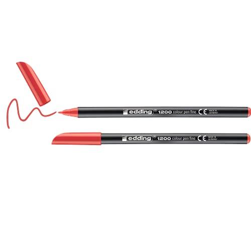 Edding 1200 rotulador de color de trazo fino - rojo - 2 rotuladores - punta redonda de 1 mm - marcador dibujar y escribir
