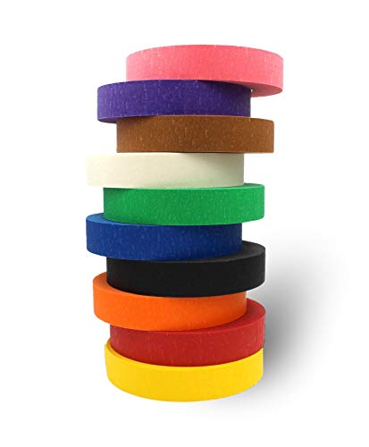 """Colored Masking Tape by BAM! Tape, 1"""" x 60 Yard, 10 Rolls, 600 Total Yards 