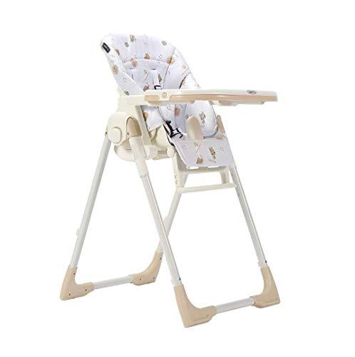 ZOUSHUAIDEDIAN Silla Alta para bebés y niños pequeños, Silla Alta de Pliegue Simple, fácil de Limpiar y empacar, reposapiés y cojín de PU extraíble, Silla de Comedor de bebé Multifuncional, Beige