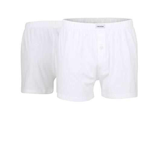 Ceceba Herren Boxershorts Shorts, 2er Pack, Weiß, Medium (Herstellergröße: 5)