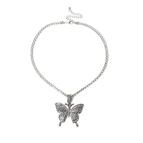 Collares Colgante Joyas Hombres Mujeres Hip Hop Cool Iced out Sparking Bling Pink AAA Cz Collares con Colgante De Mariposa Rock Fashion Charm Jewelry-Sv