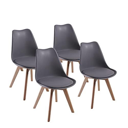 Lot de 4 chaises de Salle à Manger, DEWINNER fauteuils Chaise latérale Design rétro scandinave avec Jambe de Bois de hêtre Massif (Gris)