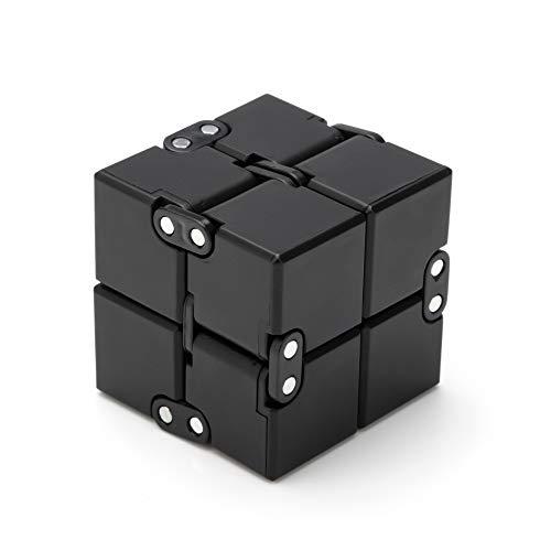 Excellentas Fidget Infinity Cube Unendlicher Würfel - Anti Stess Würfel - Stressspielzeug Geschicklichkeitsspiel für Jung und Alt, Erwachsen oder Kinder in Schwarz