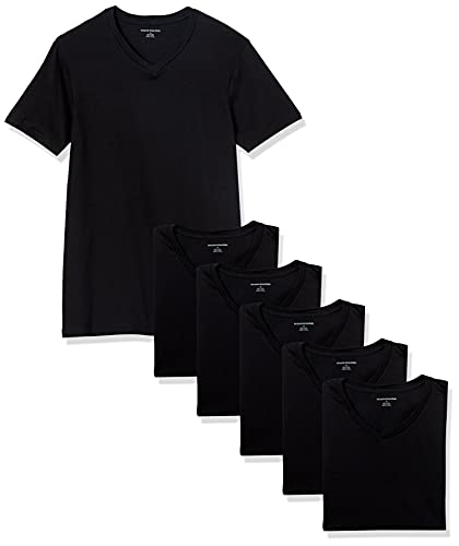 Amazon Essentials 6-Pack V-Neck Undershirts camisa, Negro (black), Medium