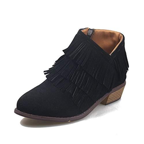 Botas Mujer Tobillo Tacon Botines Bloque Slip on Chelsea Boots Atajo Fiesta Chunky Medio Verano Verano Zapatos