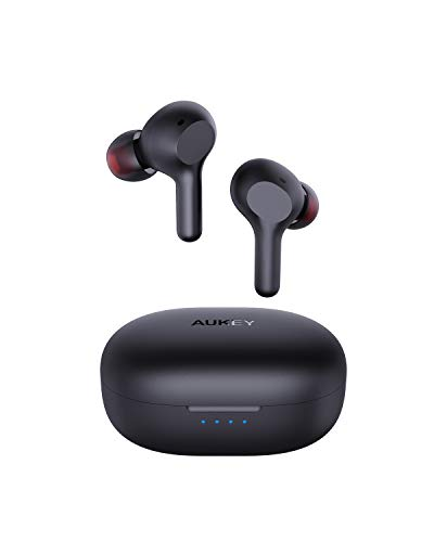 AUKEY Bluetooth Kopfhörer Kabellos In Ear mit Soliden Bass, Bluetooth 5, USB-C Quick Charge, Integriertem Mikrofon, 25 Std. Laufzeit, IPX5 Wassersdicht, Sport Ohrhörer (Upgraded)