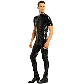zdhoor Men Faux Leather Short Sleeve Front Zipper Jumpsuit Full Body Zentai Bodysuit Leotard Catsuit
