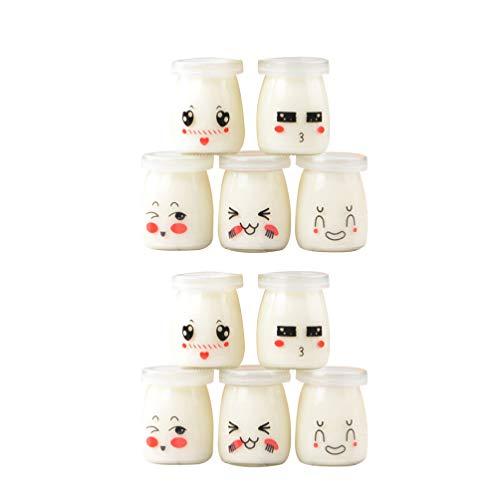 Yardwe Barattoli di Yogurt da 10 Pezzi Barattolo di Budino con Coperchio Contenitore di Vetro con Coperchio per Marmellate di Latte Mousse di Gelatina Produzione di Yogurt 100 Ml