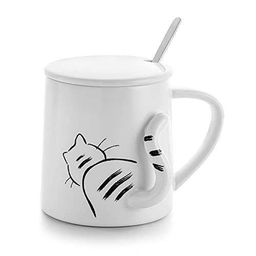 Tasse Katze, Becher Katze, Kaffeetasse Teetasse mit Deckel und Löffel, Keramik Weiß mit Süßem Katzenmotiv 3D Schwanz, Geschenk für Katzenliebhaber Katzenbesitzer Kollegin Freundin Kinder Geburtstag