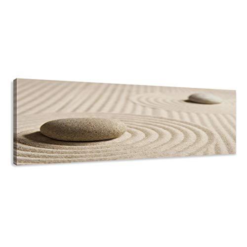 Visario Leinwandbilder 5704 Bild auf Leinwand Spa Sand, 120 x 40 cm