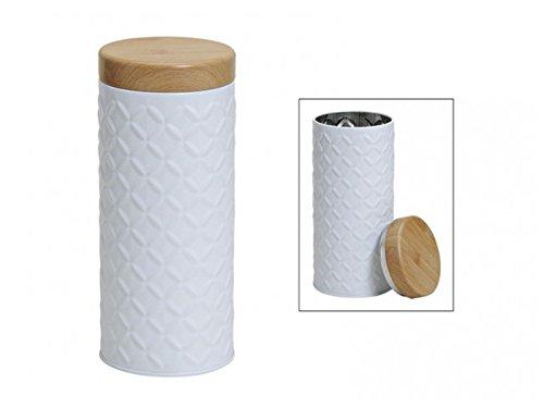 meindekoartikel Moderne Metalldose für Kaffeepads h17Ø7 cm in weiß Deckel in Holzoptik Pads Aufbewahrung