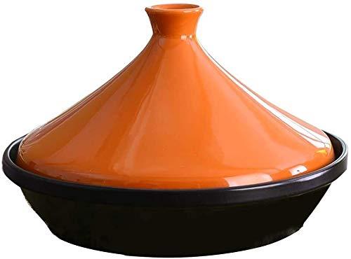 Plato de cazuela con tapa, sartenes de cocina Pote de arcilla de caza de cerámica redonda con tapa de utensilios de cocina multifuncionales para sopa de estofado Pote caliente resistente al calor