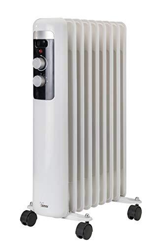 Radiatore ad olio 2000W con 9 elementi riscaldanti 4 ruote piroettanti e maniglia integrata Termosifone elettrico a convezione naturale