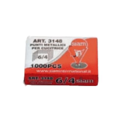 SIAM - 1000 grapas 6/4 estándar, acero cromado, grapas para grapadora