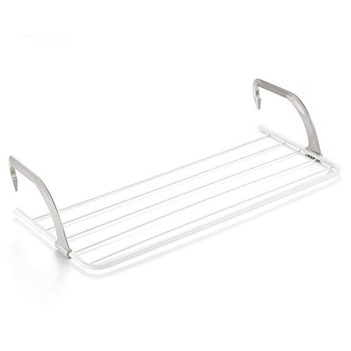 Rayen Tendedero para Balcones, Acero, ABS, Blanco y Gris, 81 x 37.5 x 15 cm
