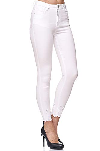 Elara Jeans para Mujer Elástico Cintura Alta Skinny Chunkyrayan Blanco 4D434 White 42 (XL)